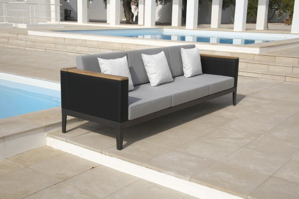 Barlow Tyrie Aura Deep Seating Three Seater Settee-Graphite