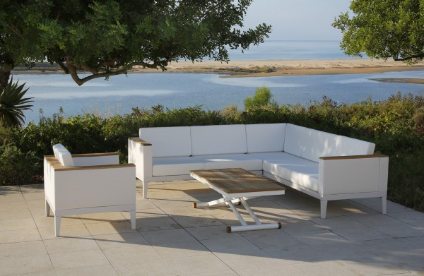 Barlow Tyrie Aura Deep Seating Five Seater Corner Settee - White