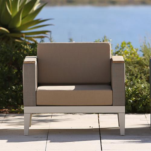 Barlow Tyre Aura Deep Seating Modular Armchair - Champagne Frame With Titanium Sling