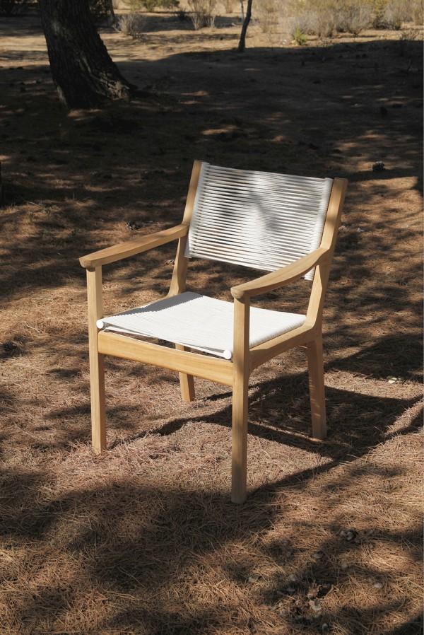 Barlow Tyrie Monterey Armchair - Teak & Cord - Chalk.401