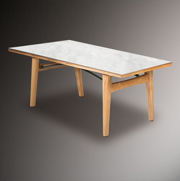 Barlow Tyrie Monterey Dining Table 200cm - Teak & Ceramic - Frost