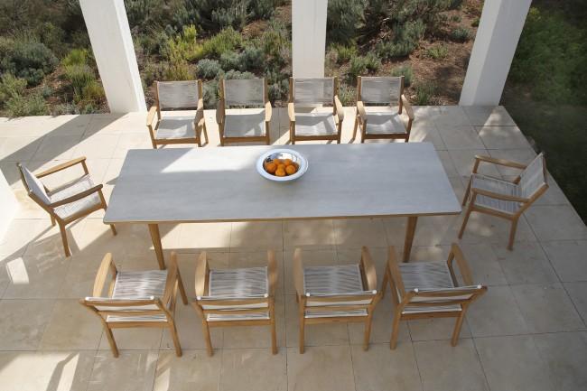 Barlow Tyrie Monterey Dining Table 300cm   Teak U0026 Ceramic   Frost