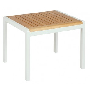 Barlow Tyrie Aura Side Table 52 Rectangular Teak Top Arctic White