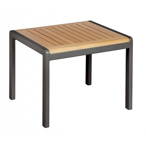 Barlow Tyrie Aura Side Table 52 Rectangular Teak Top Graphite