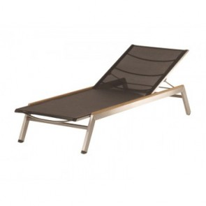 Barlow Tyrie Equinox Sun Lounger Charcoal With Teak Armrest