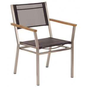 Barlow Tyrie Equinox Armchair Charcoal With Teak Armrest