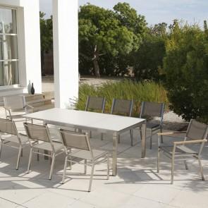 Barlow Tyrie Equinox Asymmetric Extending Dining Table  Rectangular Ceramic Top - 210cm