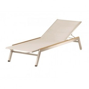 Barlow Tyrie Equinox Sun Lounger Pearl With Teak Armrest