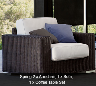 Summerloom Spring Set - 2 Armchairs, 1 Sofa, 1 Coffee Table