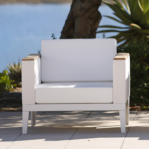 Barlow Tyre Aura Deep Seating Modular Armchair - White Frame With Pearl Sling