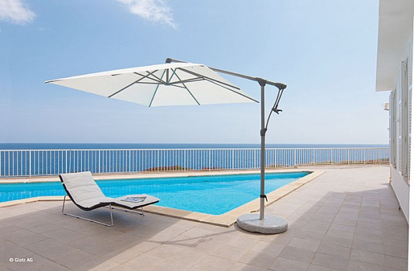 Glatz Sunwing Cantilever Parasol 2.6 x 2.6m Square Including 120kg Granite Base