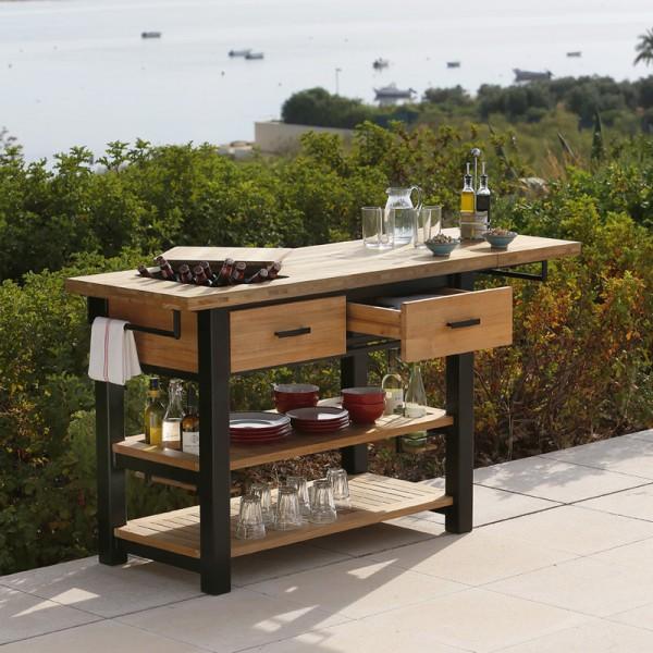 Barlow Tyrie Titan Serving Table Rustic Teak & Aluminium
