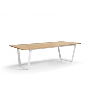Manutti Air Dining Table - 264  x 113.5 - (White Frame with Iroko Hardwood)
