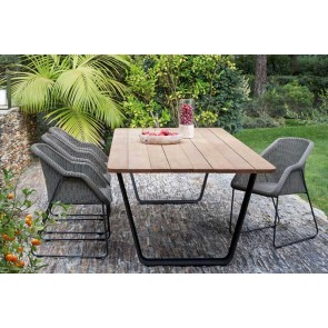 Manutti Air Dining Table - 264  x 113.5 - (Lava Frame with Iroko Hardwood)