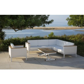 Barlow Tyrie Aura Deep Seating Five Seater Corner Settee - White