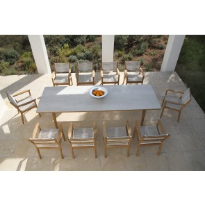 Barlow Tyrie Monterey Dining Table 300cm - Teak & Ceramic - Frost
