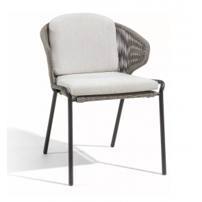 ** 50% SALE - CLEARANCE *** 6x Manutti Radius Dining Chairs | Lava Frame + Bronze Rope with Cream seat + back cushions **