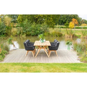 30% DISCOUNT | 4 Seasons Outdoor - Belair Dining Table with 6 Flores Dining Chairs Teak Legs